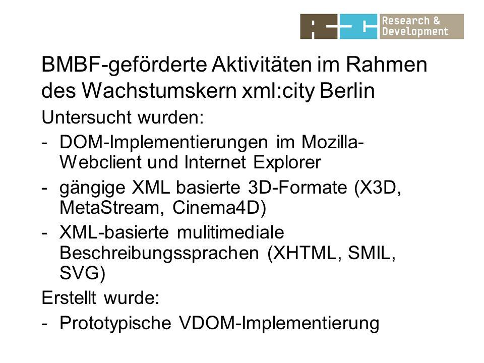BMBF-geförderte Aktivitäten im Rahmen des Wachstumskern xml:city Berlin Untersucht wurden: -DOM-Implementierungen im Mozilla- Webclient und Internet Explorer -gängige XML basierte 3D-Formate (X3D, MetaStream, Cinema4D) -XML-basierte mulitimediale Beschreibungssprachen (XHTML, SMIL, SVG) Erstellt wurde: -Prototypische VDOM-Implementierung
