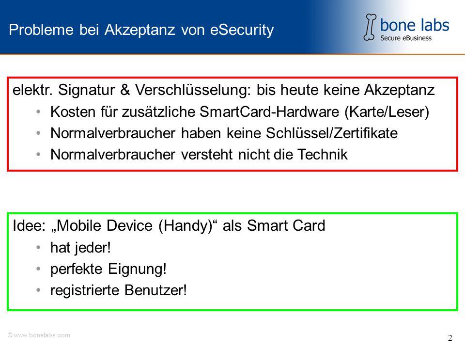 © www.bonelabs.com 2 Probleme bei Akzeptanz von eSecurity Idee: Mobile Device (Handy) als Smart Card hat jeder.