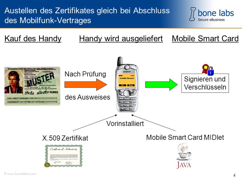 © www.bonelabs.com 4 Austellen des Zertifikates gleich bei Abschluss des Mobilfunk-Vertrages X.509 Zertifikat Mobile Smart Card MIDlet Kauf des Handy Nach Prüfung Handy wird ausgeliefertMobile Smart Card des Ausweises Vorinstalliert Signieren und Verschlüsseln