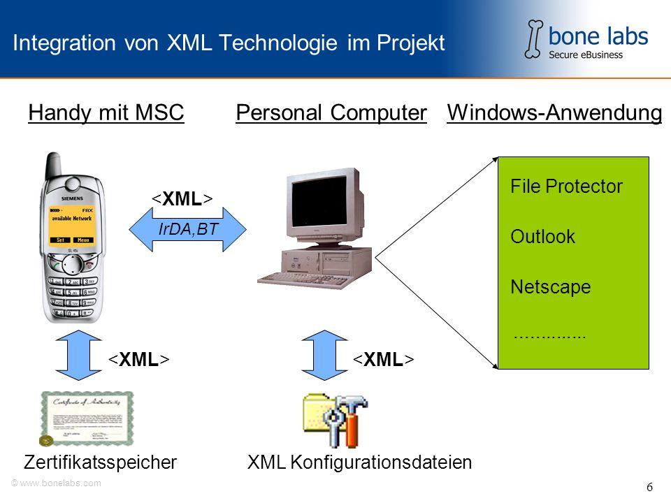 © www.bonelabs.com 6 Integration von XML Technologie im Projekt Handy mit MSCPersonal ComputerWindows-Anwendung ZertifikatsspeicherXML Konfigurationsdateien File Protector Outlook Netscape IrDA,BT..............