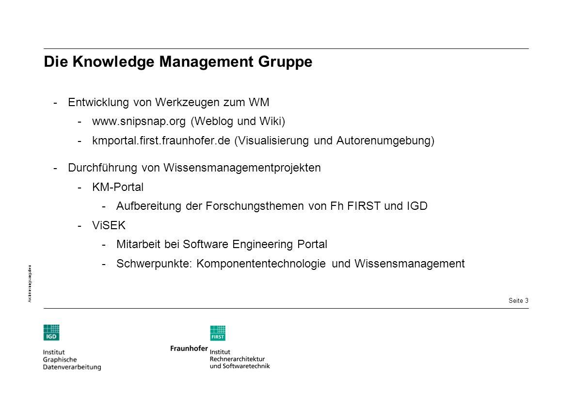 Seite 3 Archivierungsangaben Die Knowledge Management Gruppe -Entwicklung von Werkzeugen zum WM -www.snipsnap.org (Weblog und Wiki) -kmportal.first.fr