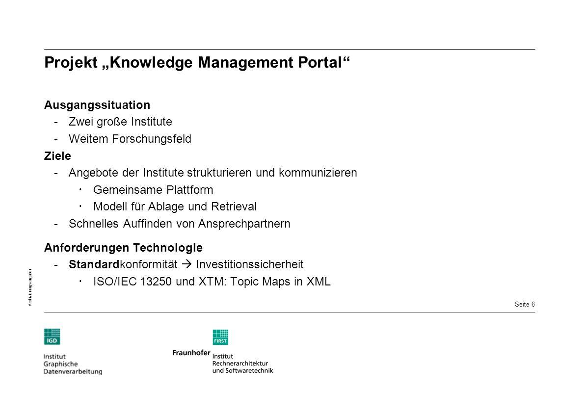 Seite 6 Archivierungsangaben Projekt Knowledge Management Portal Ausgangssituation -Zwei große Institute -Weitem Forschungsfeld Ziele -Angebote der In
