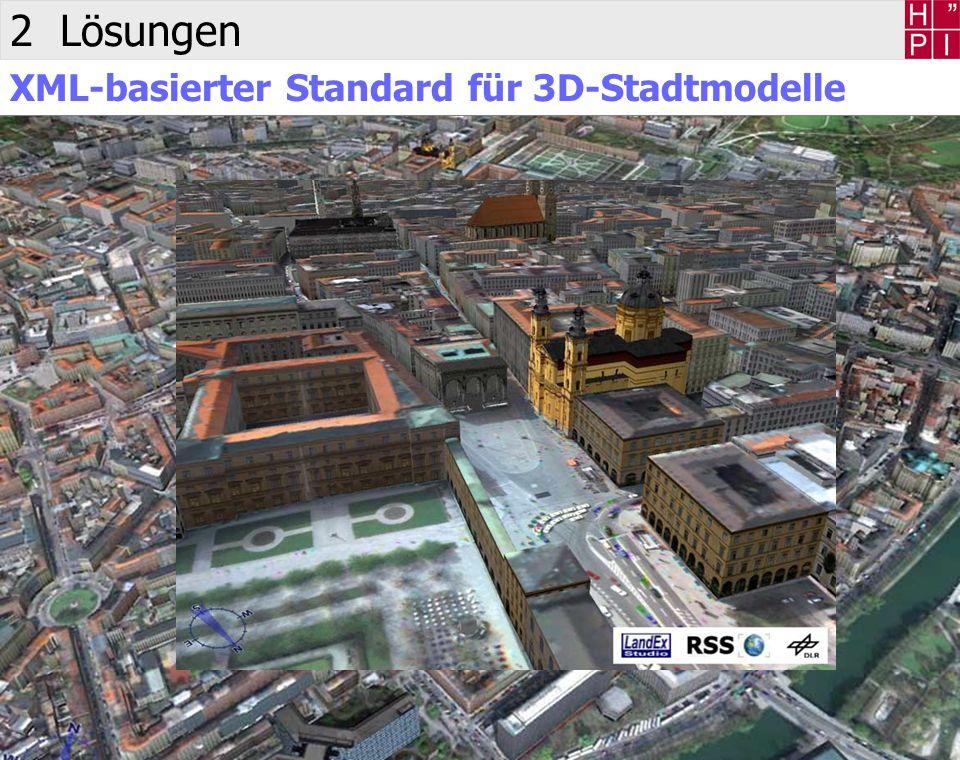 5 Jürgen Döllner 2 Lösungen XML-basierte Geodokumente XML zur Spezifikation von 3D-Karten, 3D-Stadtmodellen und 3D-Landschaftsmodellen Dokumente mit vollständig enthaltenen Geoinformationen Echtzeit-Geovisualisierungssystem als Viewer für Dokumente