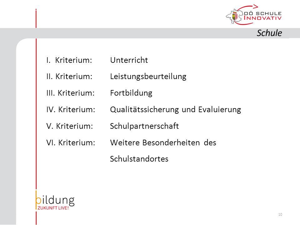 10 I. Kriterium: Unterricht II. Kriterium: Leistungsbeurteilung III.