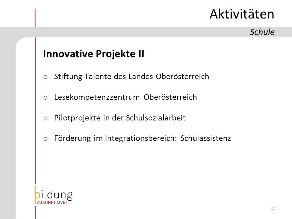 12 Aktivitäten Innovative Projekte II oStiftung Talente des Landes Oberösterreich oLesekompetenzzentrum Oberösterreich oPilotprojekte in der Schulsozialarbeit oFörderung im Integrationsbereich: Schulassistenz Schule