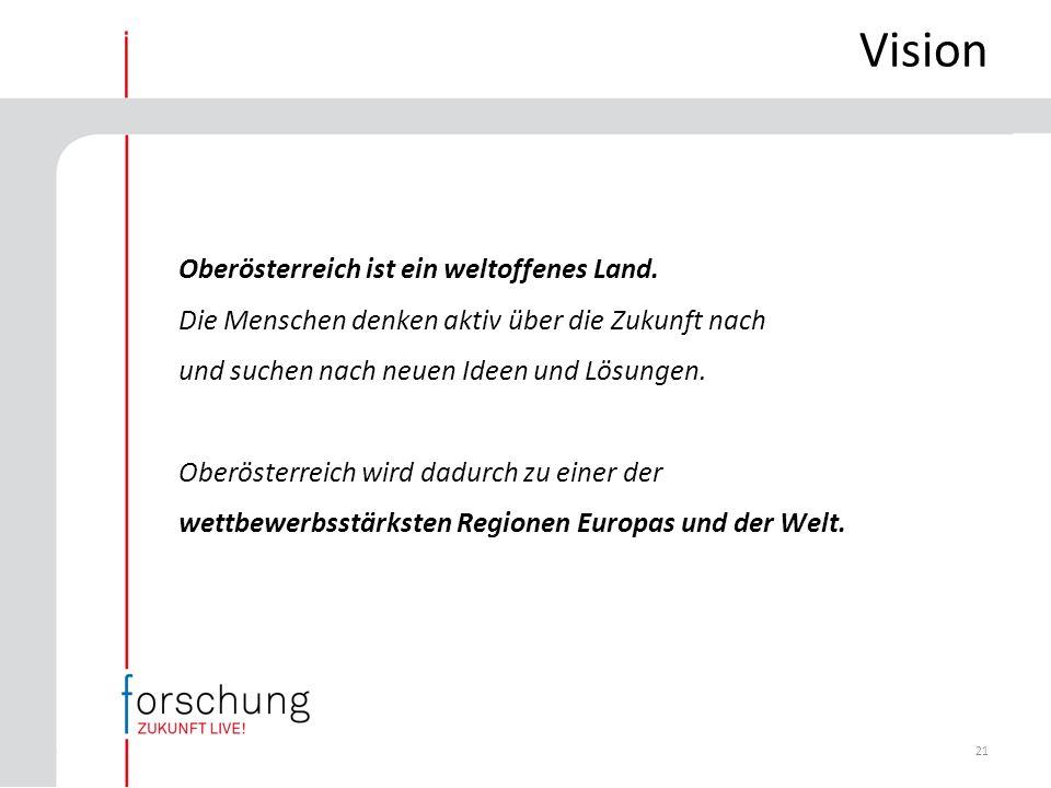 21 Vision Oberösterreich ist ein weltoffenes Land.