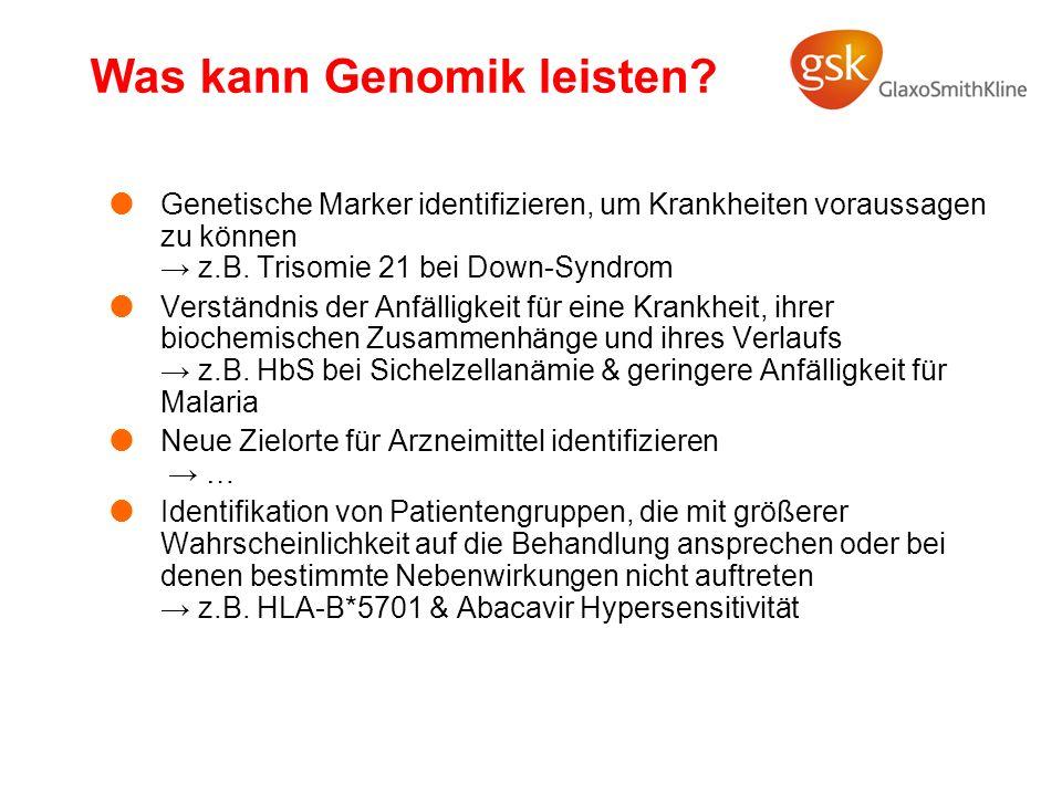 Was kann Genomik leisten? Genetische Marker identifizieren, um Krankheiten voraussagen zu können z.B. Trisomie 21 bei Down-Syndrom Verständnis der Anf