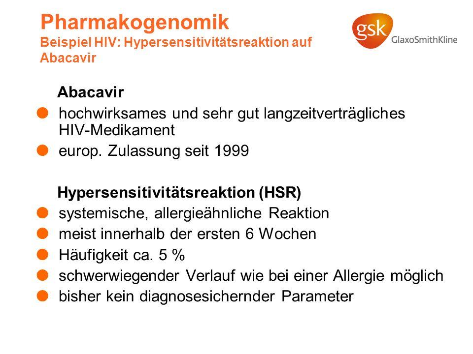 Pharmakogenomik Beispiel HIV: Hypersensitivitätsreaktion auf Abacavir Abacavir hochwirksames und sehr gut langzeitverträgliches HIV-Medikament europ.