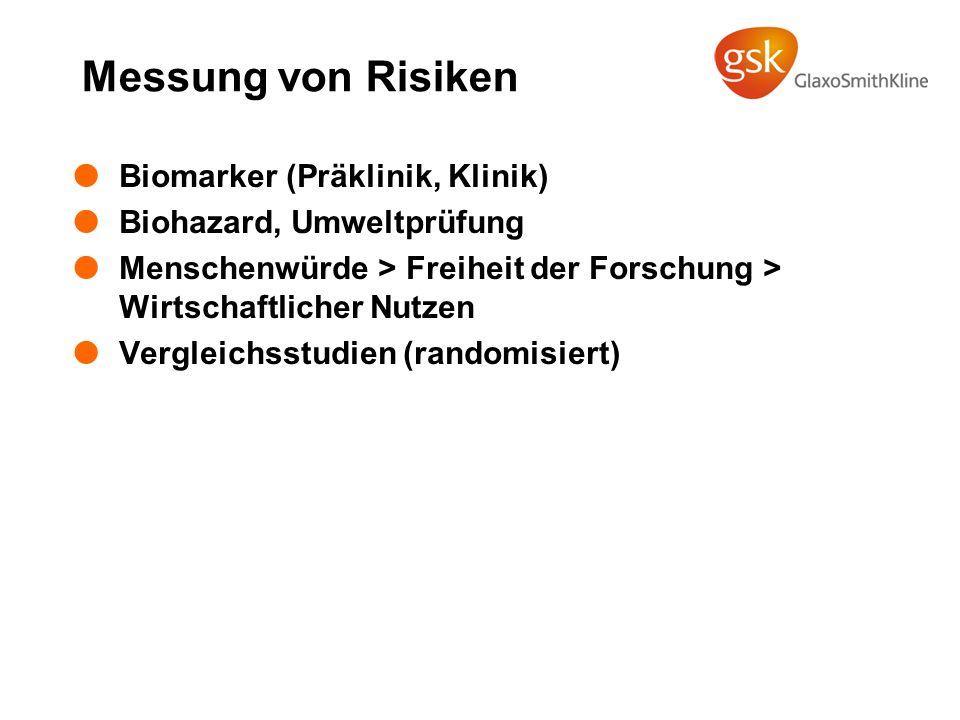 Messung von Risiken Biomarker (Präklinik, Klinik) Biohazard, Umweltprüfung Menschenwürde > Freiheit der Forschung > Wirtschaftlicher Nutzen Vergleichs
