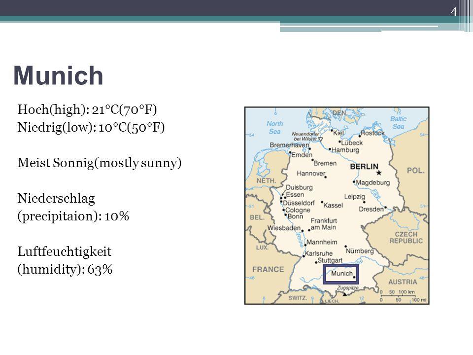 Munich Hoch(high): 21°C(70°F) Niedrig(low): 10°C(50°F) Meist Sonnig(mostly sunny) Niederschlag (precipitaion): 10% Luftfeuchtigkeit (humidity): 63% 4