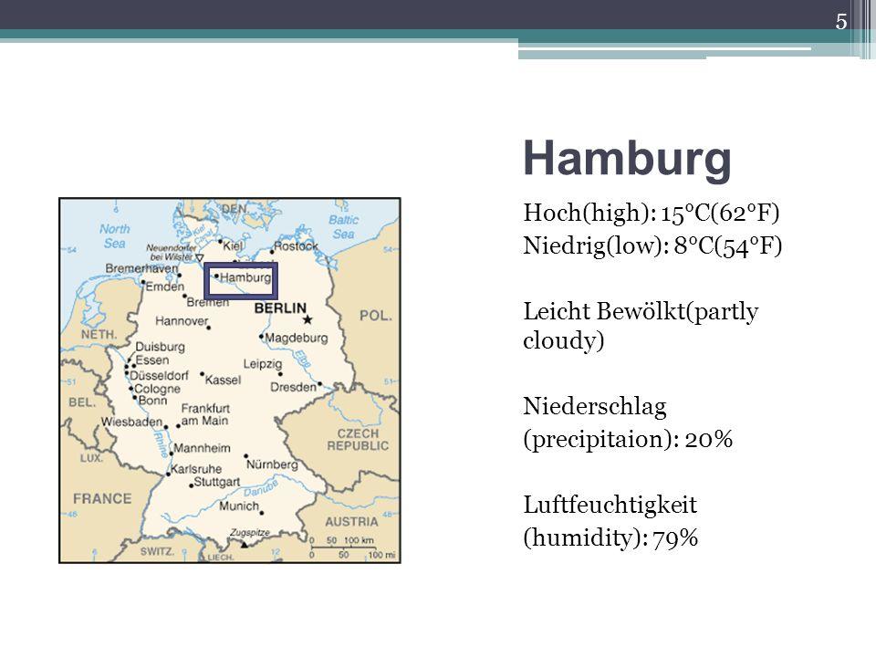 Hamburg Hoch(high): 15°C(62°F) Niedrig(low): 8°C(54°F) Leicht Bewölkt(partly cloudy) Niederschlag (precipitaion): 20% Luftfeuchtigkeit (humidity): 79% 5
