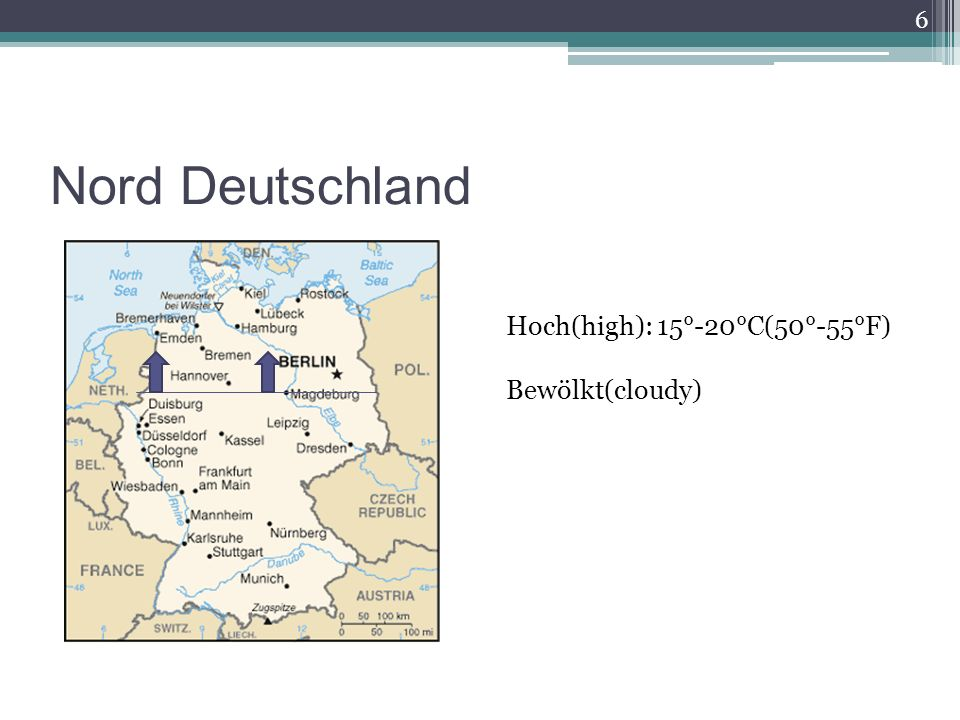 Nord Deutschland 6 Hoch(high): 15°-20°C(50°-55°F) Bewölkt(cloudy)