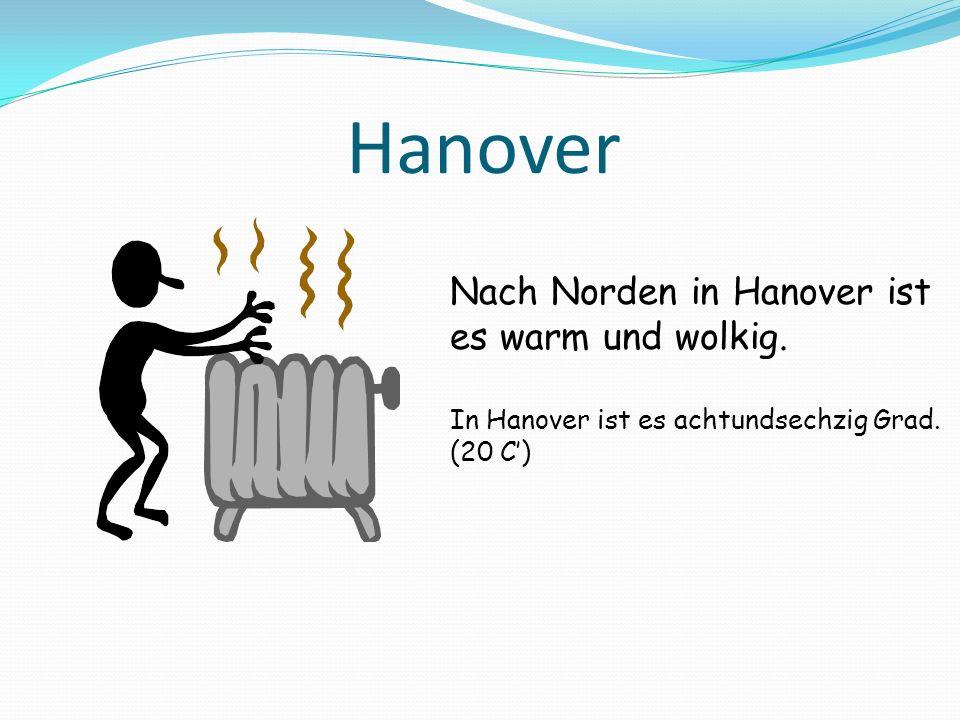 Hanover Nach Norden in Hanover ist es warm und wolkig.