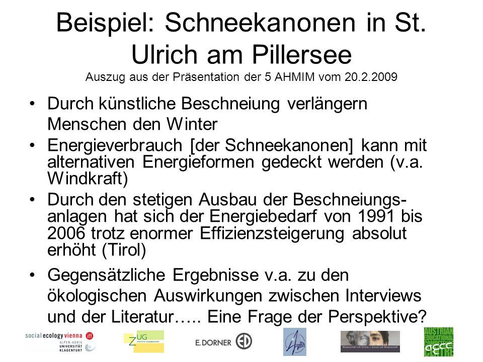 Beispiel: Schneekanonen in St. Ulrich am Pillersee Auszug aus der Präsentation der 5 AHMIM vom 20.2.2009 Durch künstliche Beschneiung verlängern Mensc