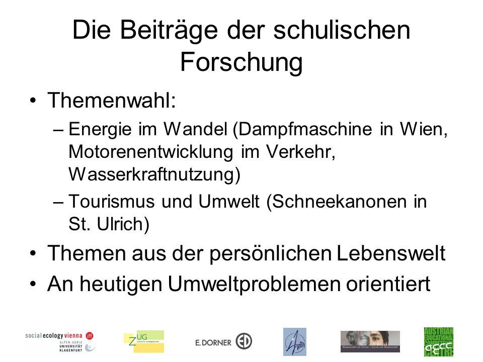 Die Beiträge der schulischen Forschung Themenwahl: –Energie im Wandel (Dampfmaschine in Wien, Motorenentwicklung im Verkehr, Wasserkraftnutzung) –Tour