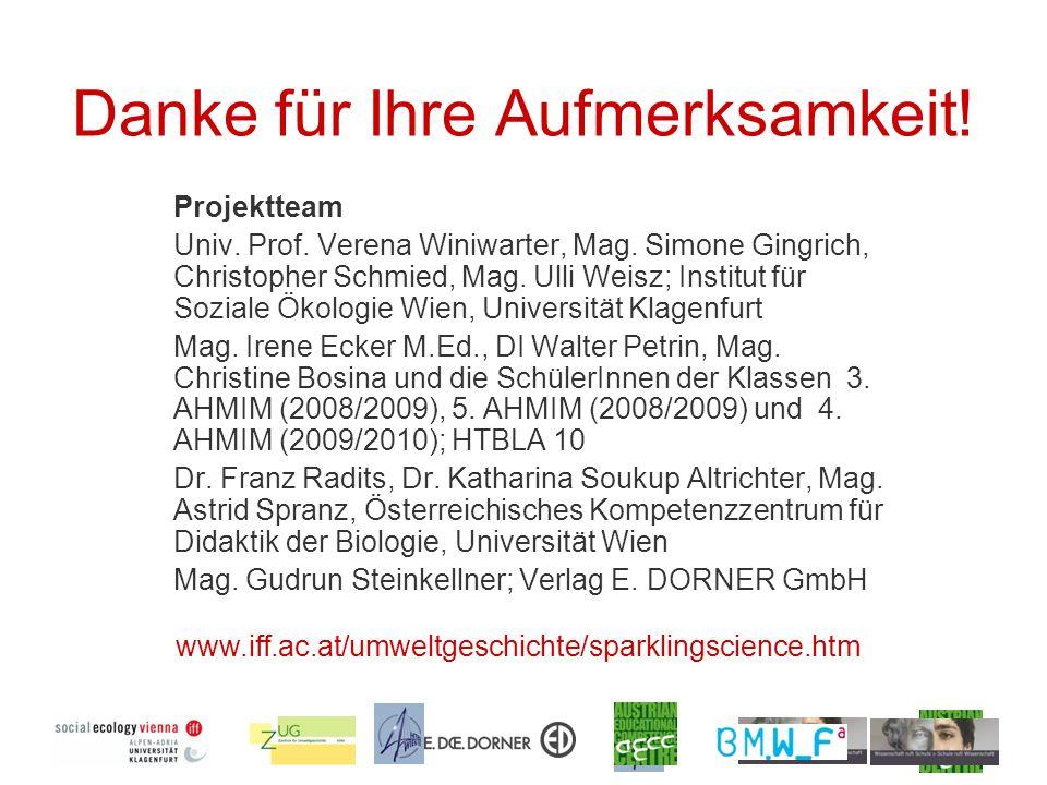 Danke für Ihre Aufmerksamkeit! Projektteam Univ. Prof. Verena Winiwarter, Mag. Simone Gingrich, Christopher Schmied, Mag. Ulli Weisz; Institut für Soz