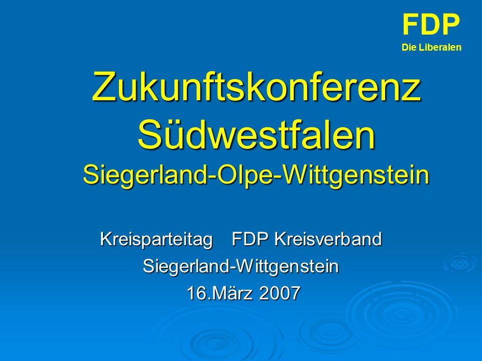 Zukunftskonferenz Südwestfalen Siegerland-Olpe-Wittgenstein Kreisparteitag FDP Kreisverband Siegerland-Wittgenstein 16.März 2007 16.März 2007 FDP Die Liberalen