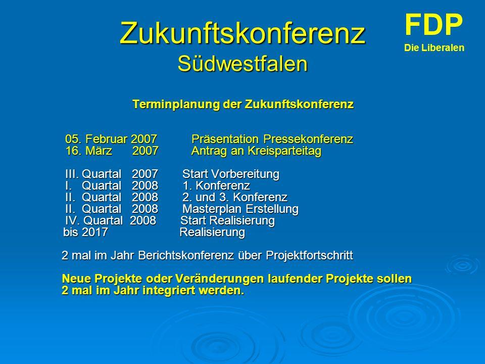 Zukunftskonferenz Südwestfalen Terminplanung der Zukunftskonferenz 05.