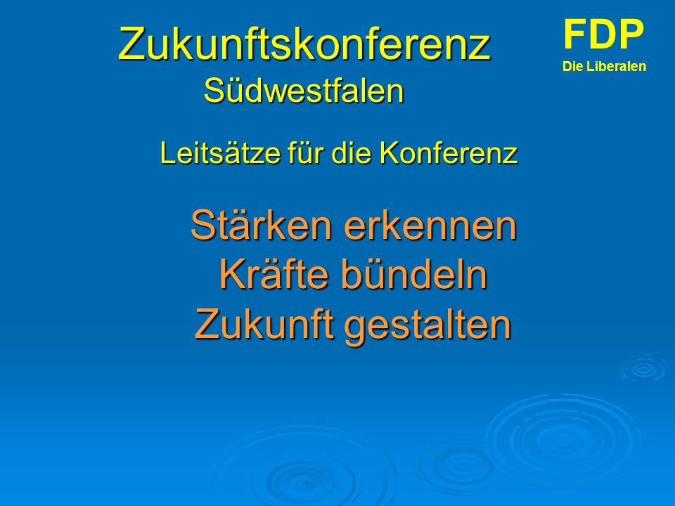 Zukunftskonferenz Südwestfalen Leitsätze für die Konferenz FDP Die Liberalen Stärken erkennen Kräfte bündeln Zukunft gestalten