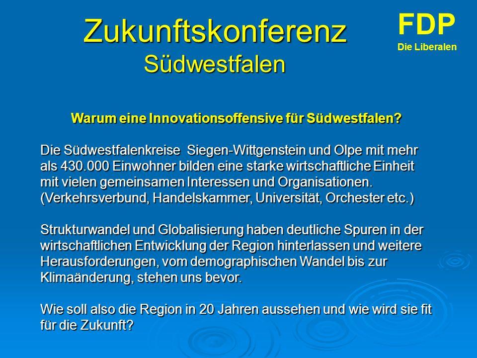 Zukunftskonferenz Südwestfalen FDP Die Liberalen Warum eine Innovationsoffensive für Südwestfalen.