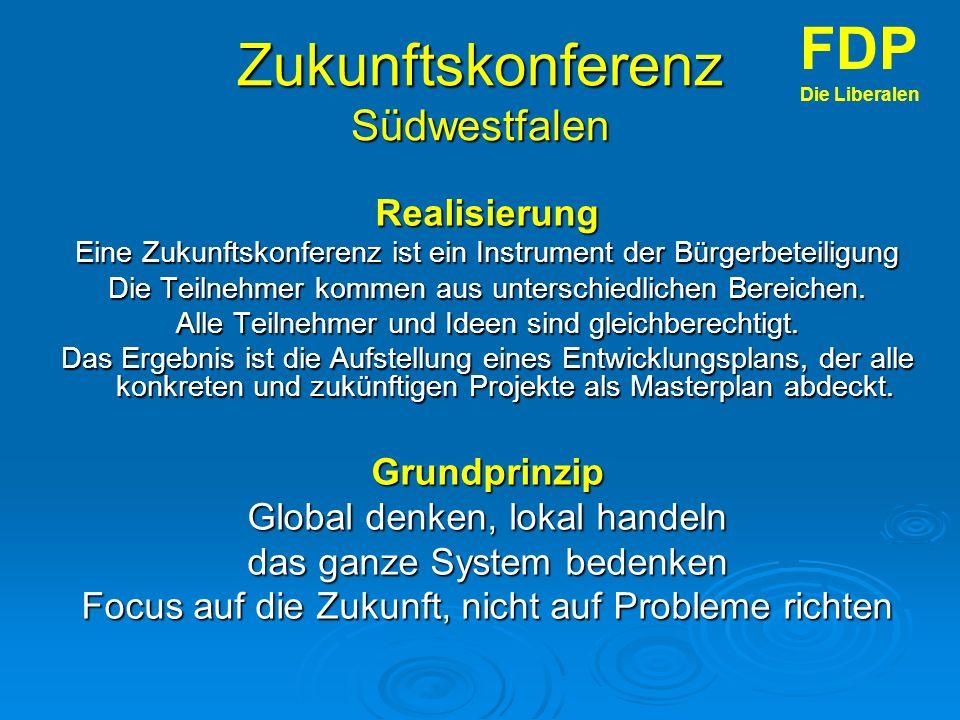 Zukunftskonferenz Südwestfalen Realisierung Eine Zukunftskonferenz ist ein Instrument der Bürgerbeteiligung Die Teilnehmer kommen aus unterschiedlichen Bereichen.