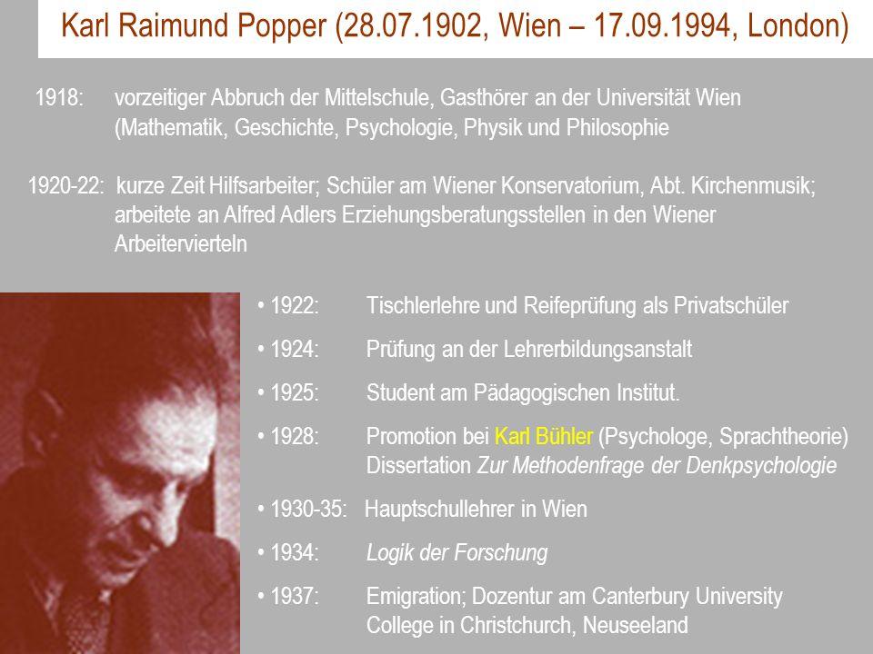 Karl Raimund Popper (28.07.1902, Wien – 17.09.1994, London) 1922: Tischlerlehre und Reifeprüfung als Privatschüler 1924: Prüfung an der Lehrerbildungs