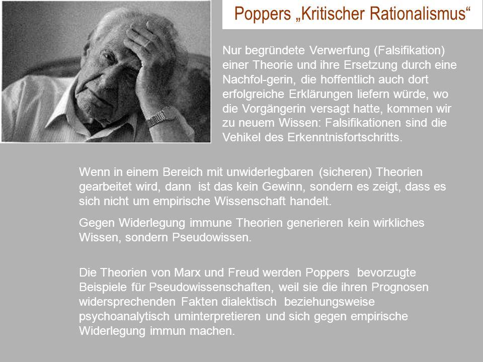 Poppers Kritischer Rationalismus Nur begründete Verwerfung (Falsifikation) einer Theorie und ihre Ersetzung durch eine Nachfol-gerin, die hoffentlich