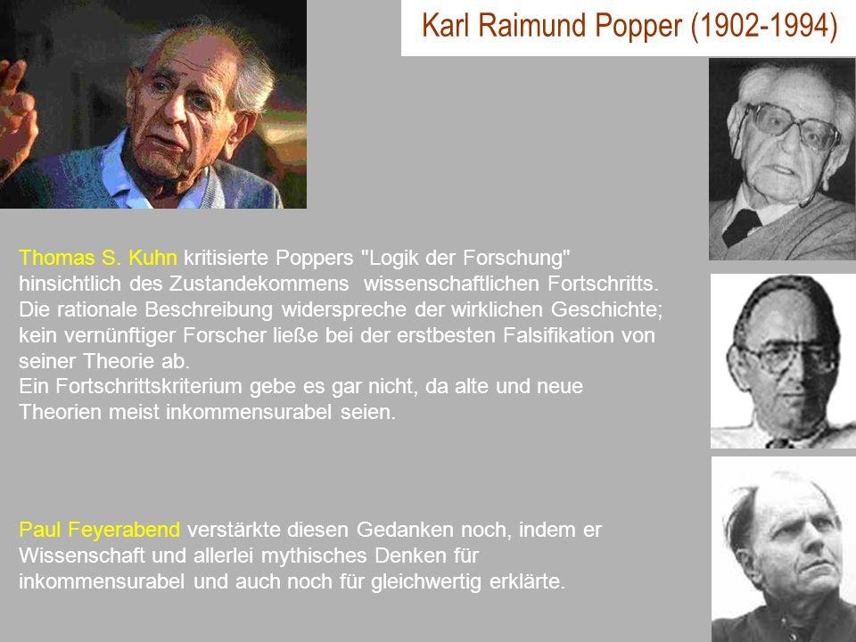 Karl Raimund Popper (1902-1994) Thomas S. Kuhn kritisierte Poppers