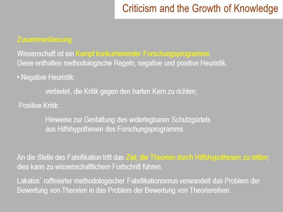 Criticism and the Growth of Knowledge Zusammenfassung: Wissenschaft ist ein Kampf konkurrierender Forschungsprogramme. Diese enthalten methodologische