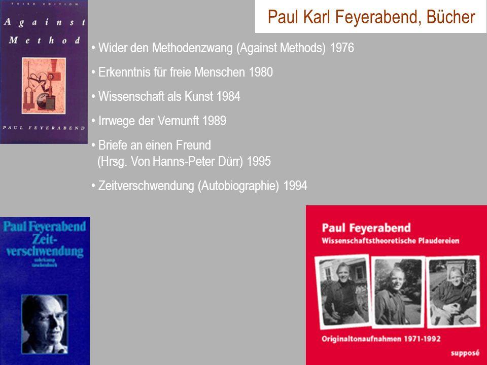 Paul Karl Feyerabend, Bücher Wider den Methodenzwang (Against Methods) 1976 Erkenntnis für freie Menschen 1980 Wissenschaft als Kunst 1984 Irrwege der