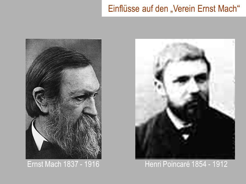 Ernst Mach 1837 - 1916Henri Poincaré 1854 - 1912 Einflüsse auf den Verein Ernst Mach