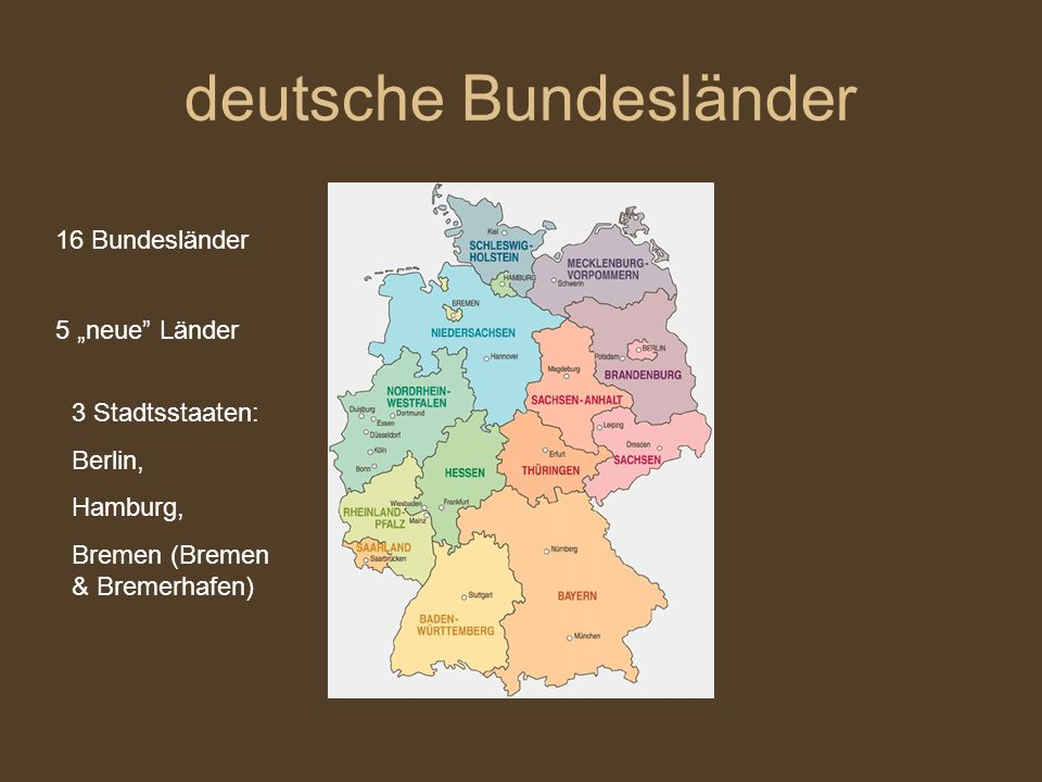 deutsche Bundesländer 16 Bundesländer 5 neue Länder 3 Stadtsstaaten: Berlin, Hamburg, Bremen (Bremen & Bremerhafen)