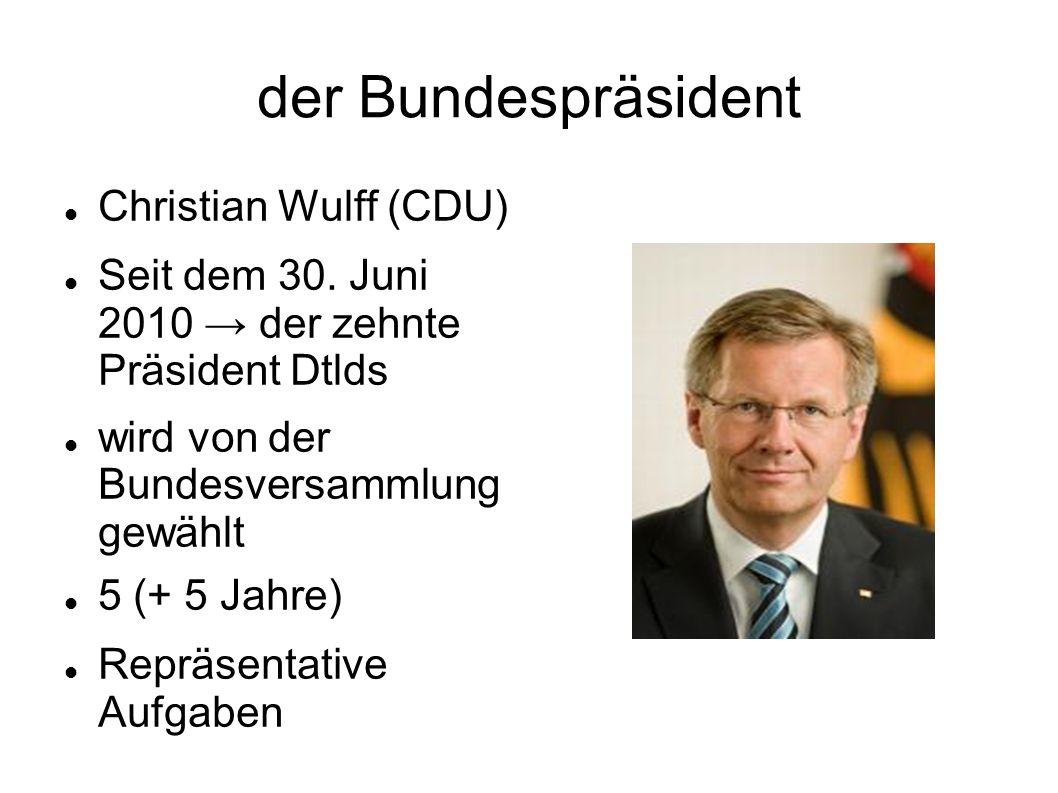 der Bundespräsident Christian Wulff (CDU) Seit dem 30. Juni 2010 der zehnte Präsident Dtlds wird von der Bundesversammlung gewählt 5 (+ 5 Jahre) Reprä