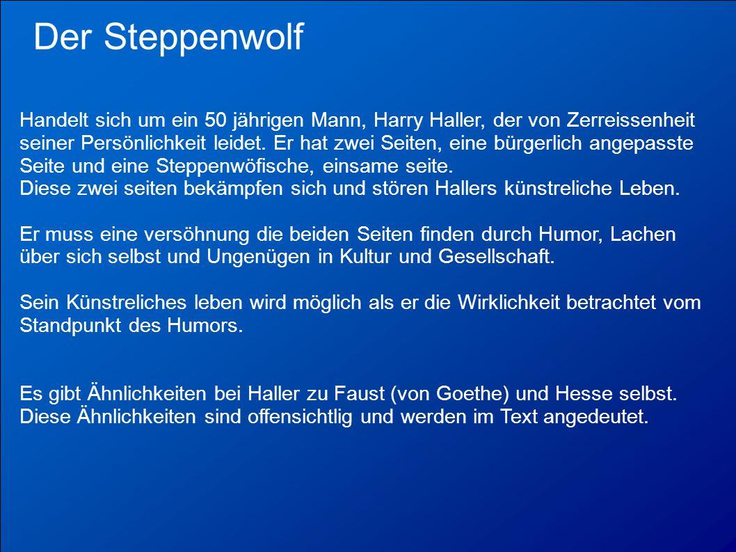 Der Steppenwolf Handelt sich um ein 50 jährigen Mann, Harry Haller, der von Zerreissenheit seiner Persönlichkeit leidet.