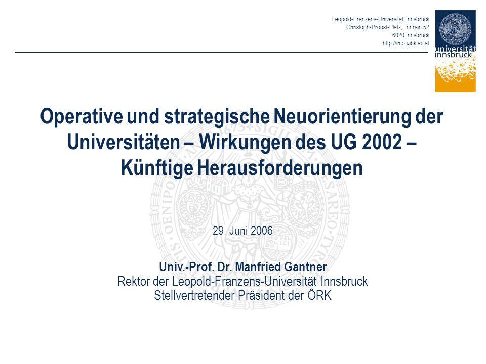 Leopold-Franzens-Universität Innsbruck Christoph-Probst-Platz, Innrain 52 6020 Innsbruck http://info.uibk.ac.at Operative und strategische Neuorientie