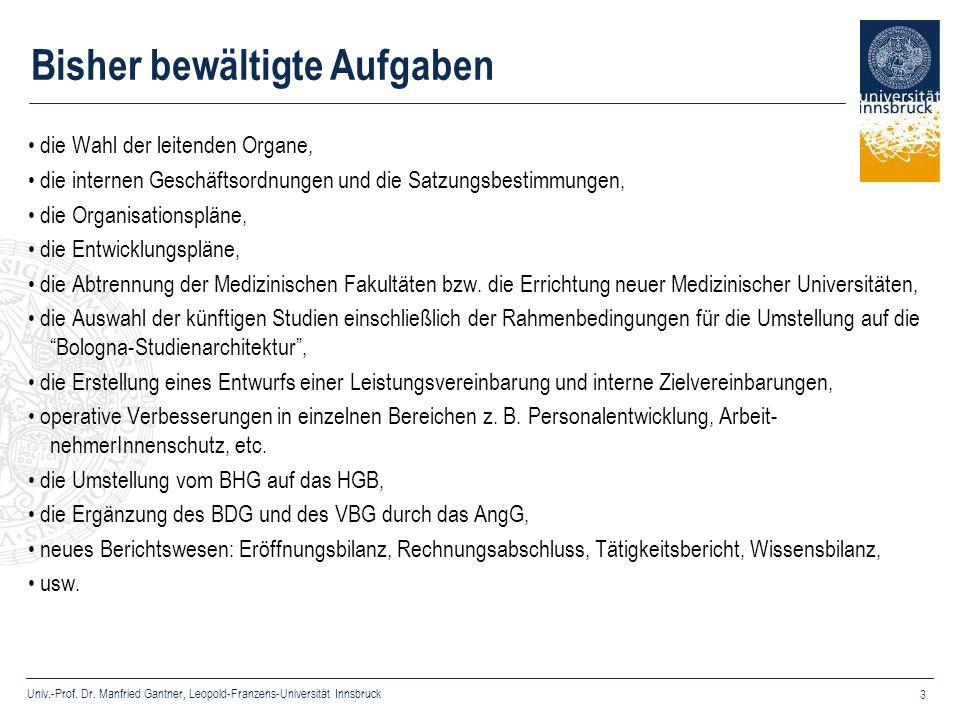 Univ.-Prof. Dr. Manfried Gantner, Leopold-Franzens-Universität Innsbruck 3 Bisher bewältigte Aufgaben die Wahl der leitenden Organe, die internen Gesc