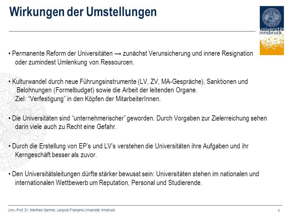Univ.-Prof. Dr. Manfried Gantner, Leopold-Franzens-Universität Innsbruck 4 Wirkungen der Umstellungen Permanente Reform der Universitäten zunächst Ver