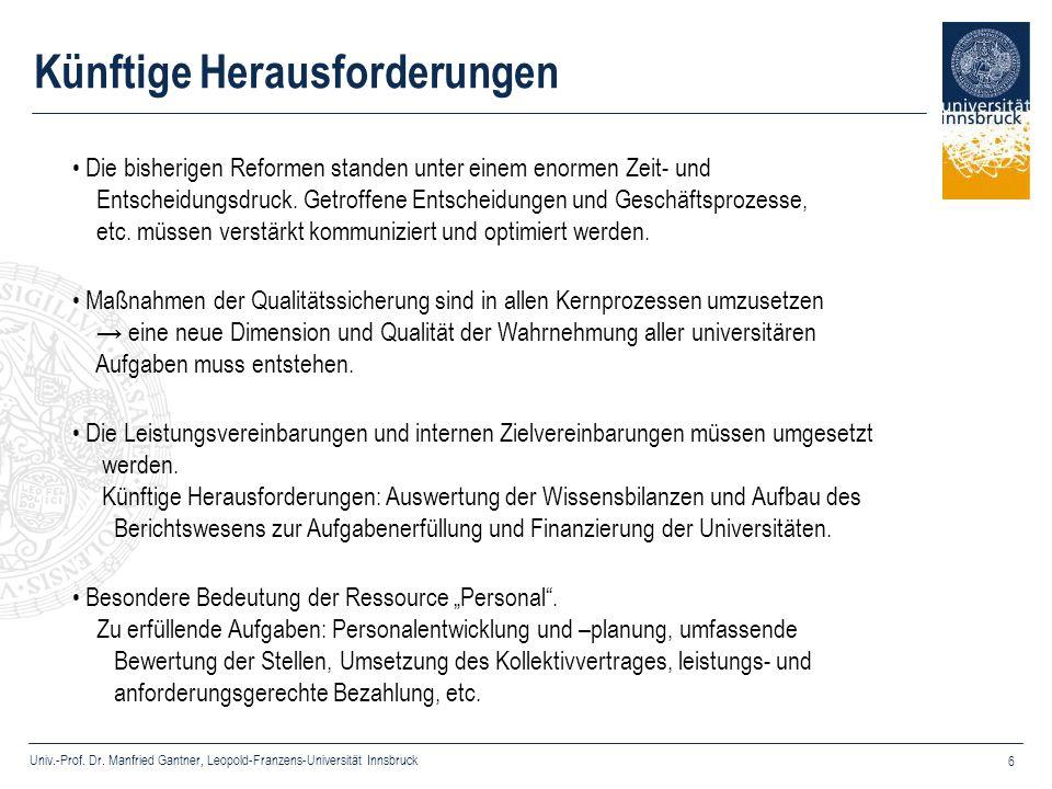 Univ.-Prof. Dr. Manfried Gantner, Leopold-Franzens-Universität Innsbruck 6 Die bisherigen Reformen standen unter einem enormen Zeit- und Entscheidungs