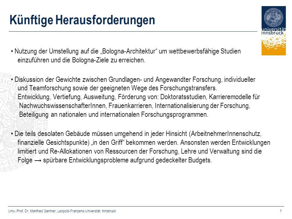 Univ.-Prof. Dr. Manfried Gantner, Leopold-Franzens-Universität Innsbruck 7 Künftige Herausforderungen Nutzung der Umstellung auf die Bologna-Architekt