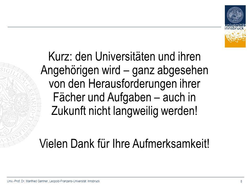Univ.-Prof. Dr. Manfried Gantner, Leopold-Franzens-Universität Innsbruck 8 Kurz: den Universitäten und ihren Angehörigen wird – ganz abgesehen von den