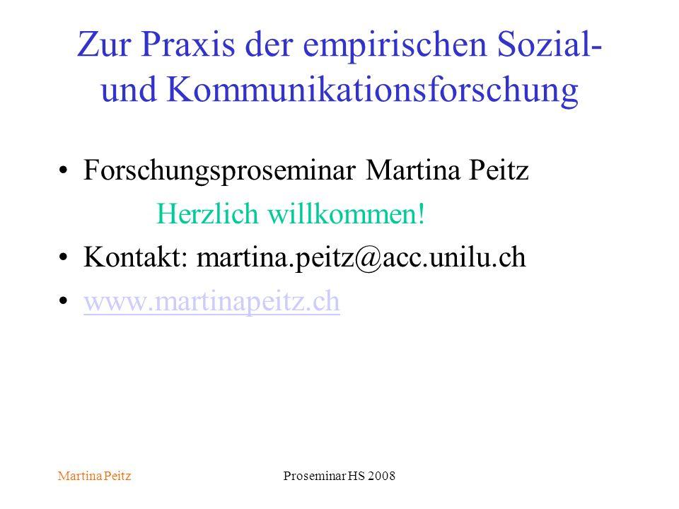 Martina PeitzProseminar HS 2008 Zur Praxis der empirischen Sozial- und Kommunikationsforschung Forschungsproseminar Martina Peitz Herzlich willkommen.