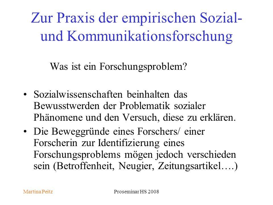 Martina PeitzProseminar HS 2008 Zur Praxis der empirischen Sozial- und Kommunikationsforschung Was ist ein Forschungsproblem.