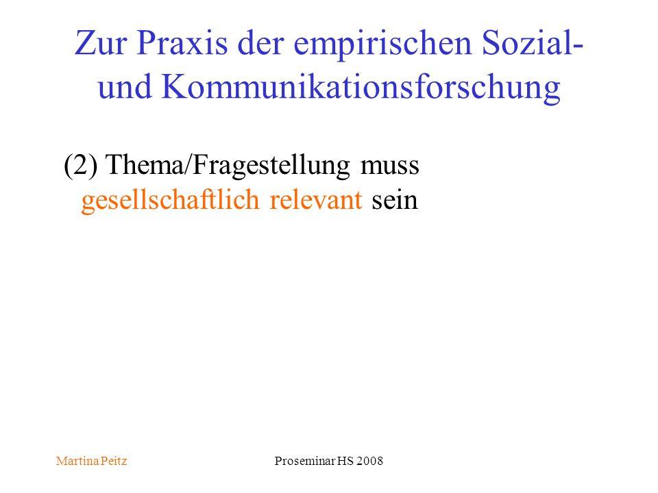 Martina PeitzProseminar HS 2008 Zur Praxis der empirischen Sozial- und Kommunikationsforschung (2) Thema/Fragestellung muss gesellschaftlich relevant sein