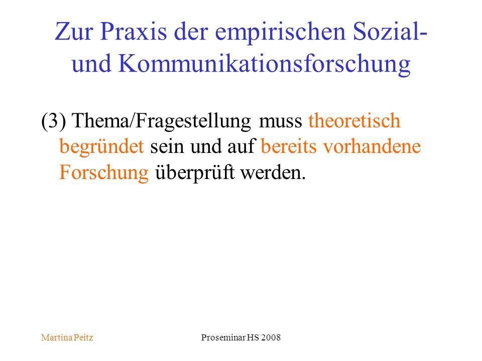 Martina PeitzProseminar HS 2008 Zur Praxis der empirischen Sozial- und Kommunikationsforschung (3) Thema/Fragestellung muss theoretisch begründet sein und auf bereits vorhandene Forschung überprüft werden.