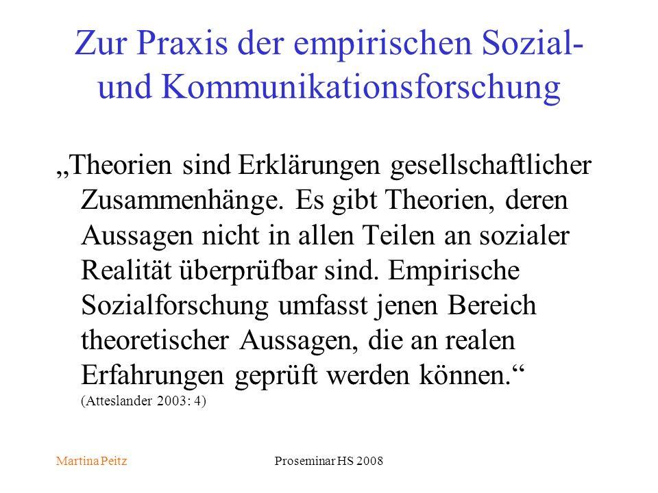 Martina PeitzProseminar HS 2008 Zur Praxis der empirischen Sozial- und Kommunikationsforschung Theorien sind Erklärungen gesellschaftlicher Zusammenhänge.
