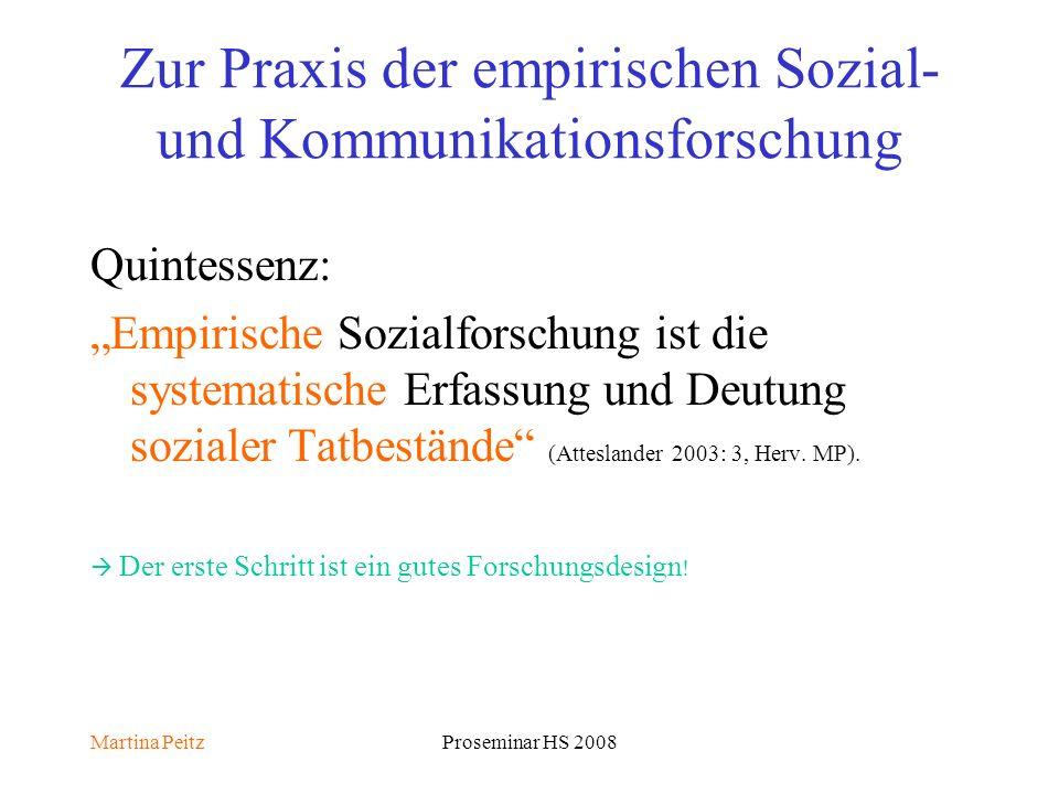Martina PeitzProseminar HS 2008 Zur Praxis der empirischen Sozial- und Kommunikationsforschung Quintessenz: Empirische Sozialforschung ist die systematische Erfassung und Deutung sozialer Tatbestände (Atteslander 2003: 3, Herv.