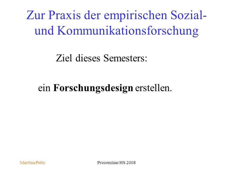 Martina PeitzProseminar HS 2008 Zur Praxis der empirischen Sozial- und Kommunikationsforschung Ziel dieses Semesters: ein Forschungsdesign erstellen.