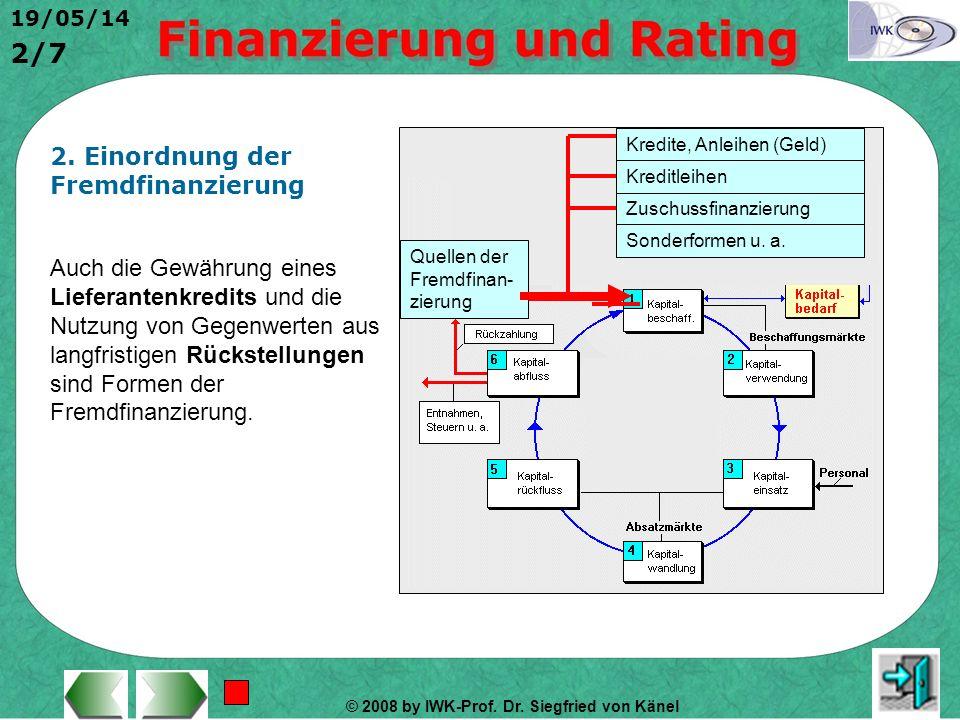© 2008 by IWK-Prof. Dr. Siegfried von Känel 19/05/14 1/7 1. Begriffsbestimmung Eine Fremdfinanzierung eines Unternehmens liegt vor, wenn die zur Ingan