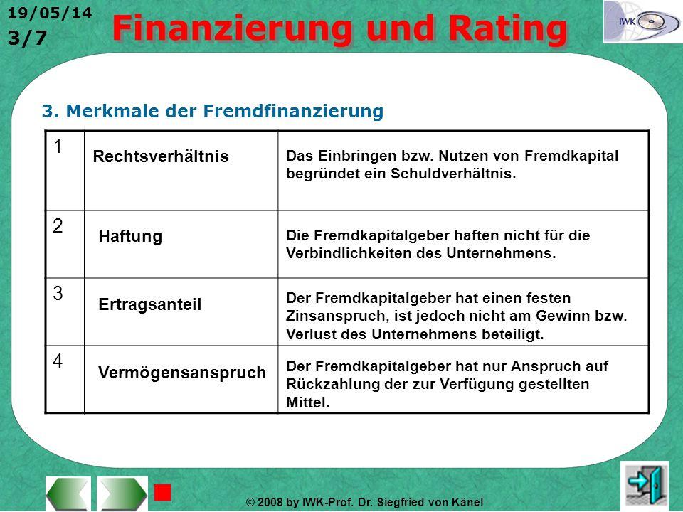 © 2008 by IWK-Prof. Dr. Siegfried von Känel 19/05/14 2/7 2. Einordnung der Fremdfinanzierung Quellen der Fremdfinan- zierung Kredite, Anleihen (Geld)