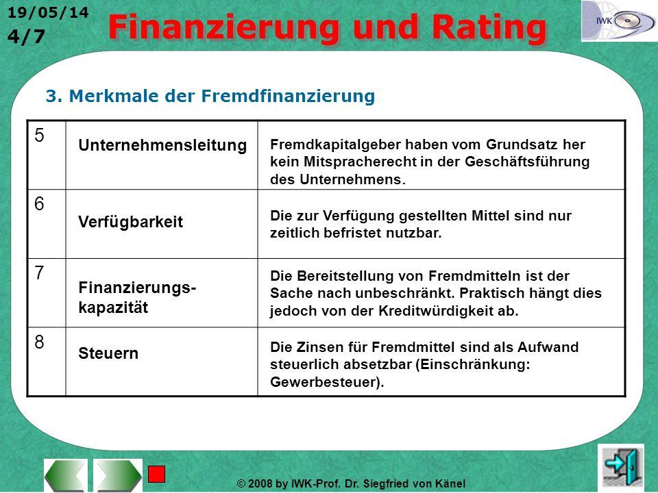 © 2008 by IWK-Prof. Dr. Siegfried von Känel 19/05/14 3/7 3. Merkmale der Fremdfinanzierung 1 2 3 4 Rechtsverhältnis Das Einbringen bzw. Nutzen von Fre